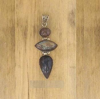 Designer 3 stone hinged Purple Labradorite Pendant